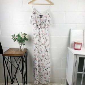 Forever 21 White & Pink Floral Maxi Dress w/ Slits